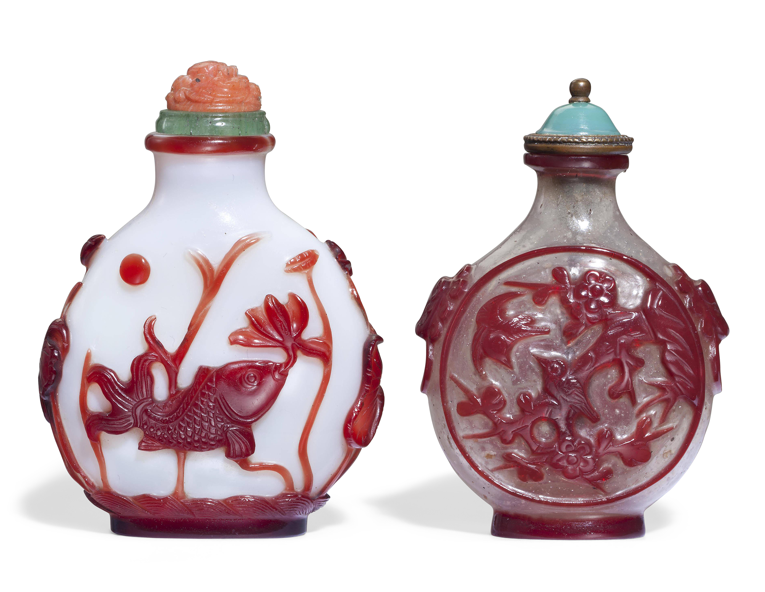 TWO RED-OVERLAY GLASS SNUFF BOTTLES, 1730-1840 | Christies