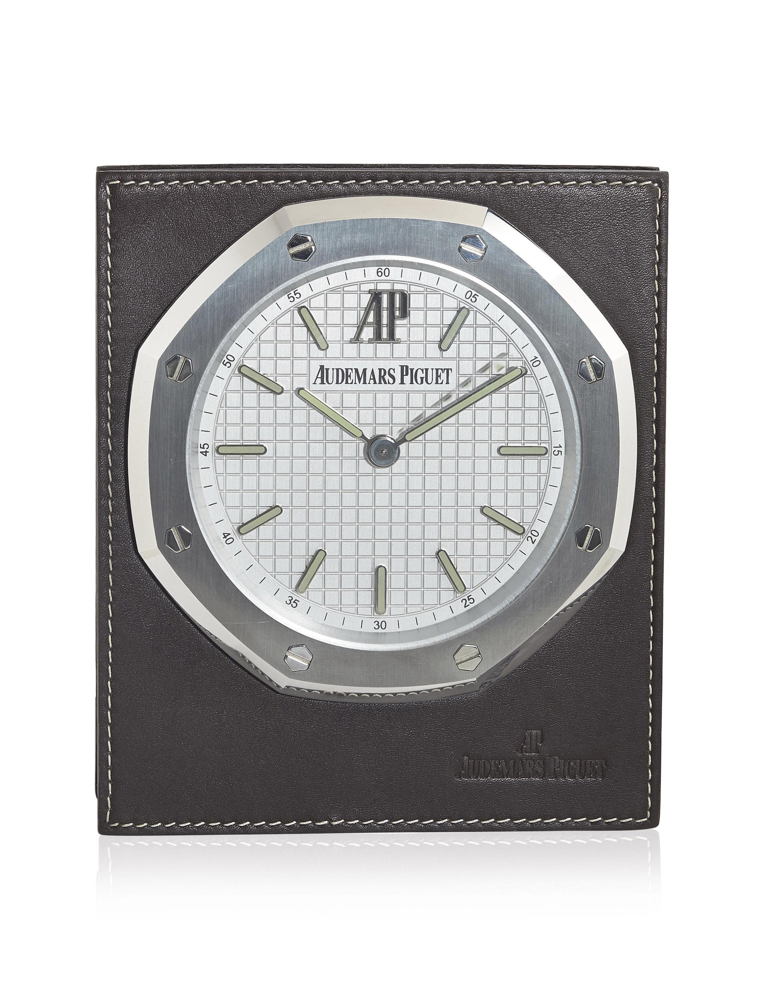 Audemars Piguet Stainless Steel Royal Oak Desk Clock With Leather