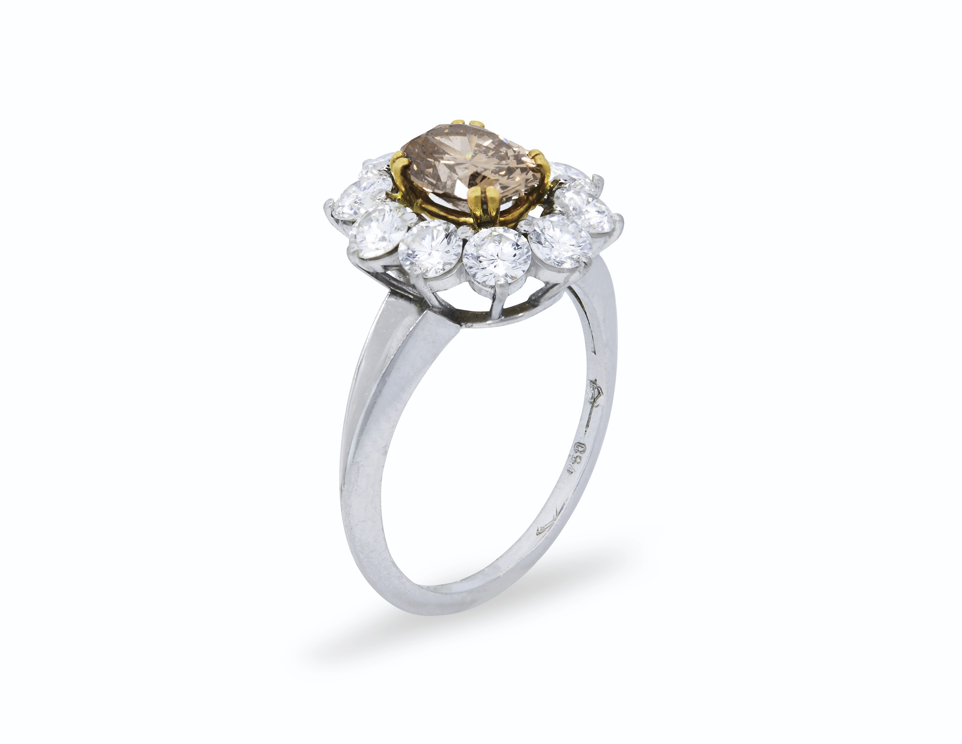 round yellowish weighing rings pin the deep color fancy ring diamond of orange colored carats