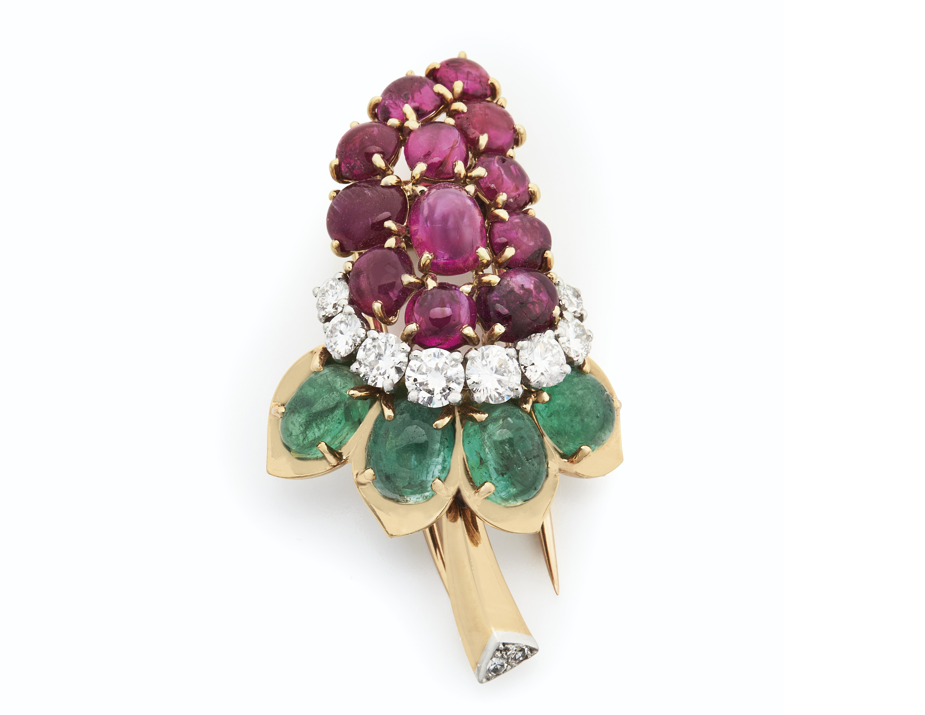 diamond org emerald brooch ruby product l flower cartier p platinum paris gold img
