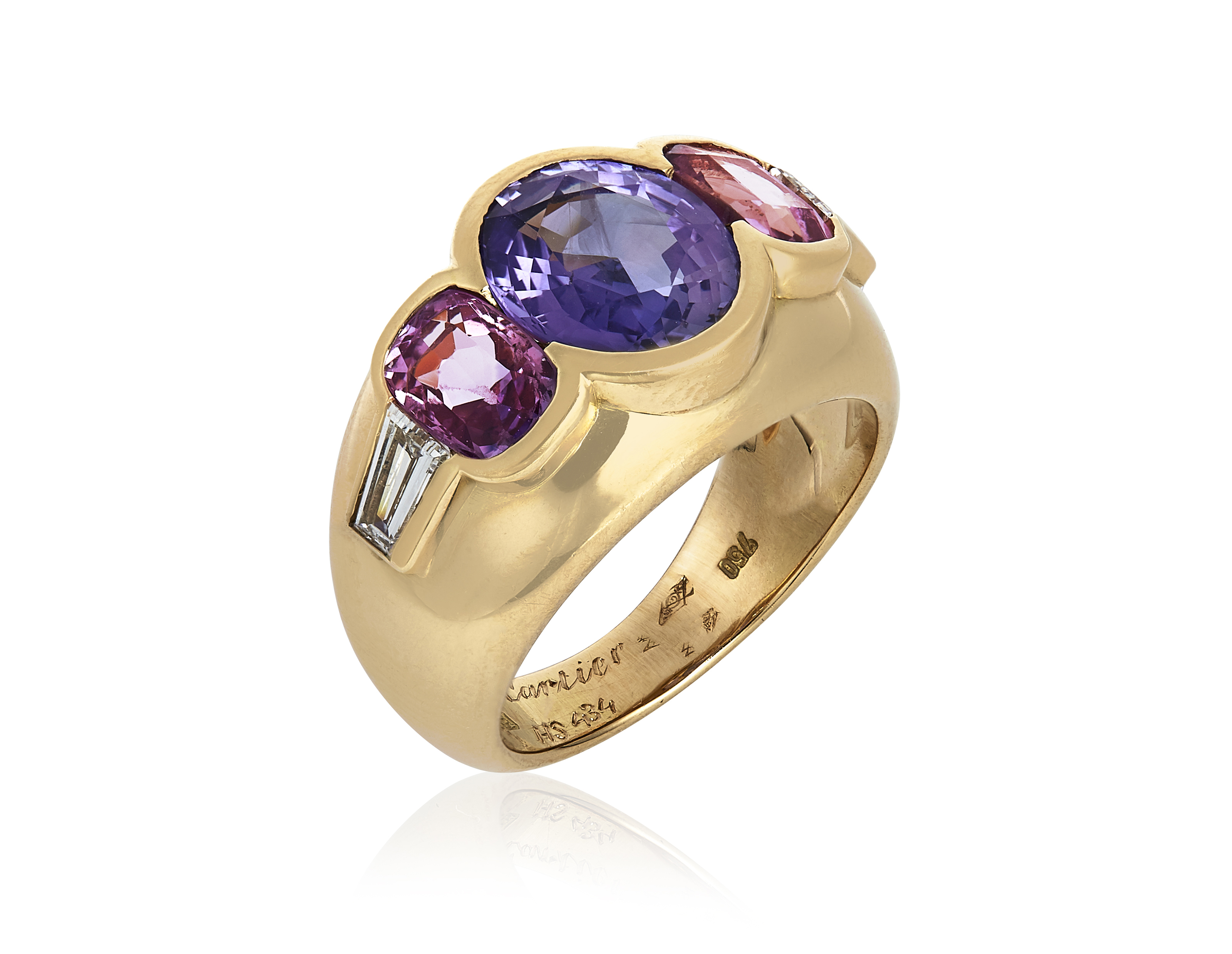 pink sapphire jewelry ring lyst in metallic rose love cartier