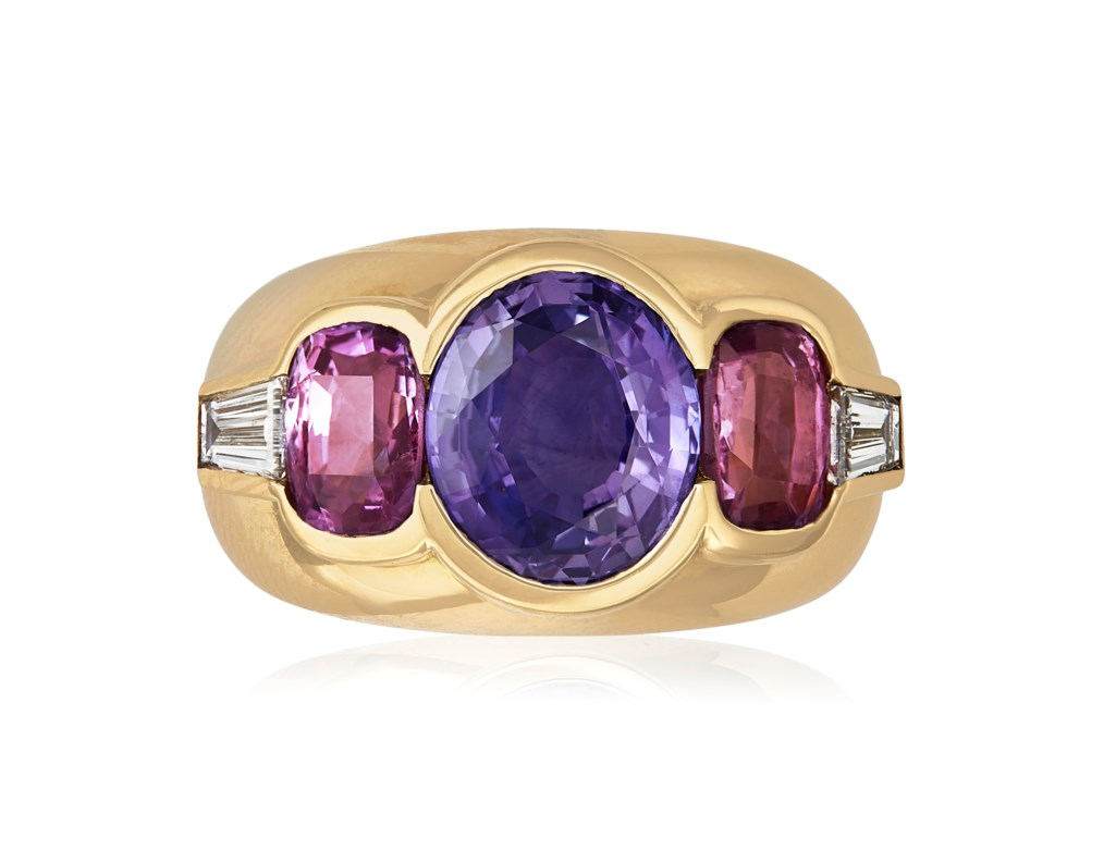 VARI-COLOURED SAPPHIRE, DIAMOND AND GOLD RING MOUNTED BY CARTIER