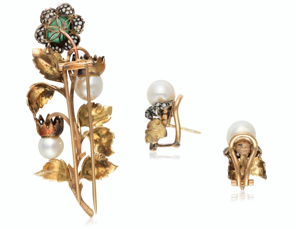 BUCCELLATI SET OF EMERALD, CULTURED PEARL AND DIAMOND JEWELRY