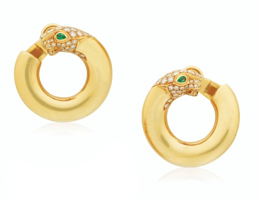 Cartier PanthÈre Diamond Set Hoop Earrings