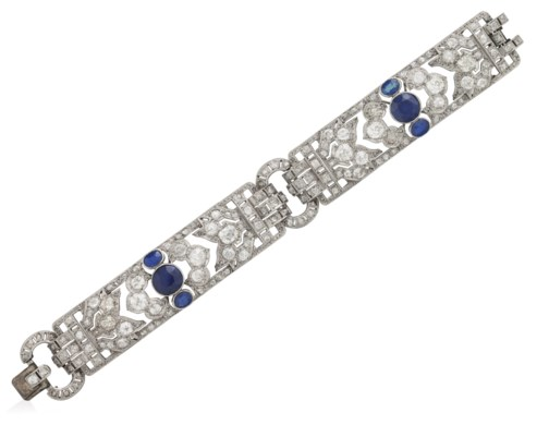 sapphire color product sapphires french and goldsmith antiques diamond h vs cut platinum diamonds in bracelet circa si art g village blue deco