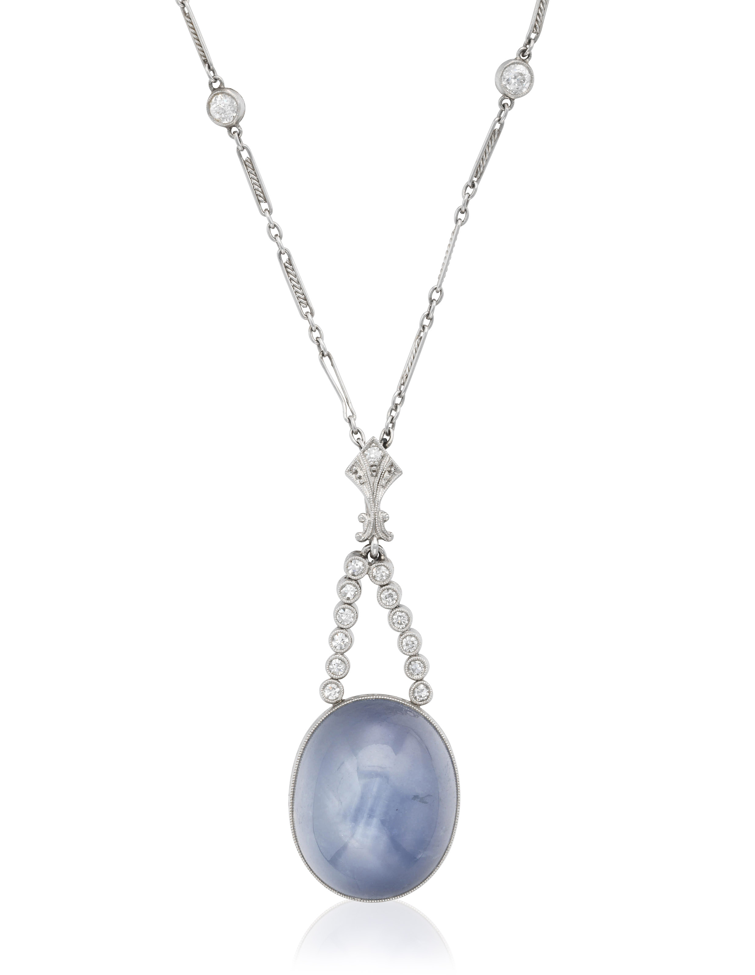 STAR SAPPHIRE AND DIAMOND PENDANT NECKLACE Christie s STAR