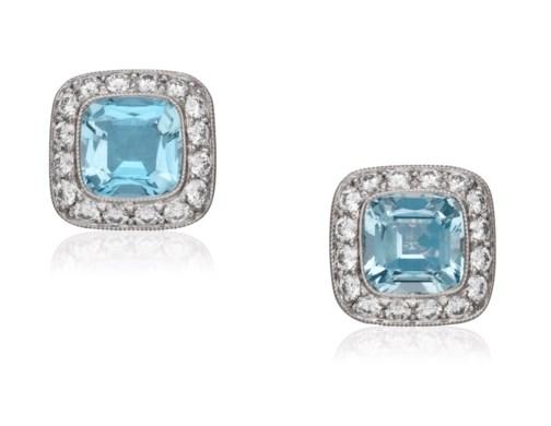 Tiffany Co Diamond And Aquamarine Earrings