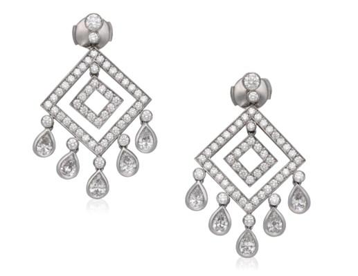Tiffany Co Jazz Diamond Set Chandelier Earrings