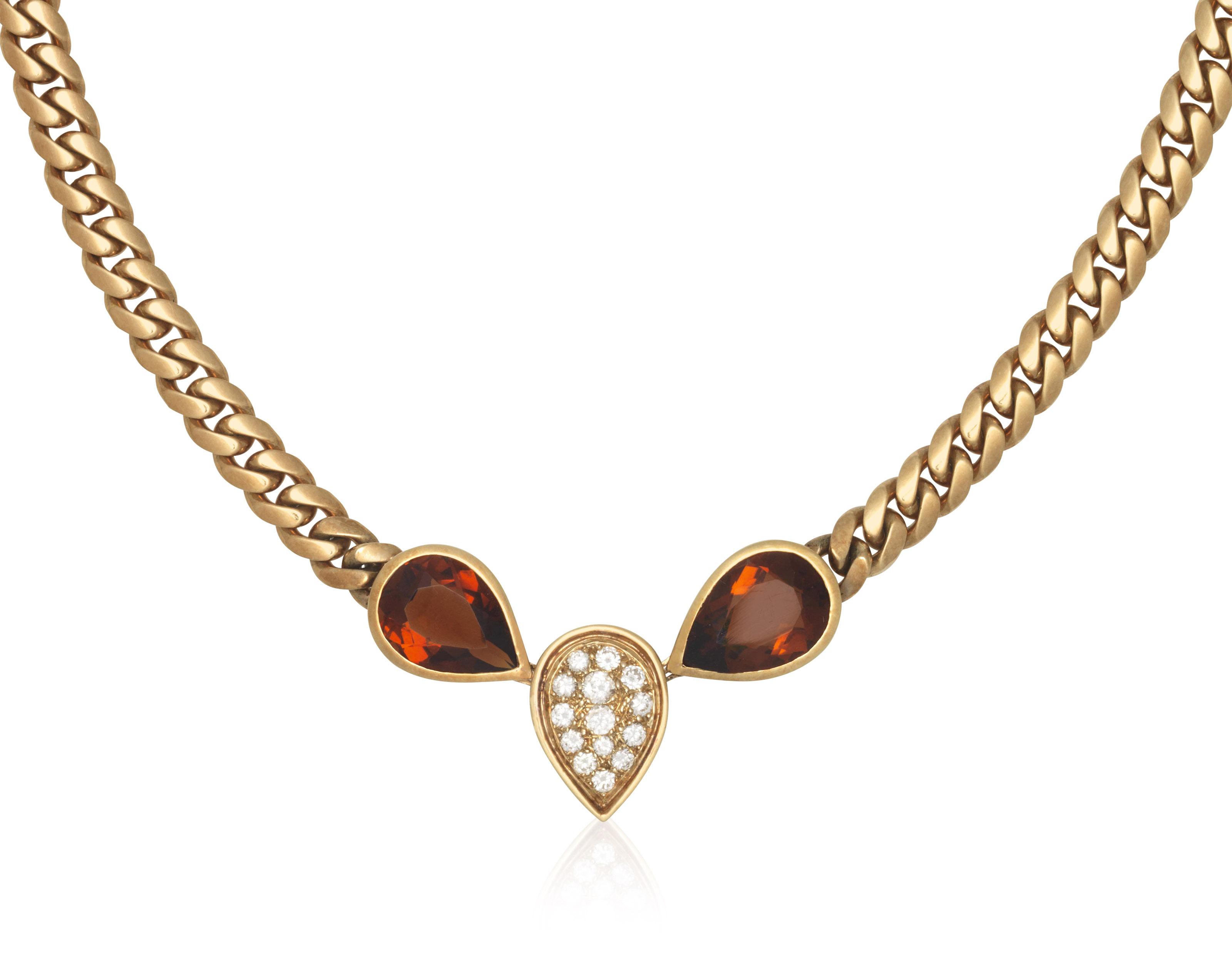 citrine diamond and gold necklace christie�s citrine