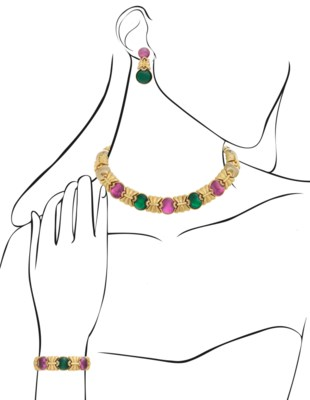 GROUP OF TWO-TONE GOLD JEWELRY