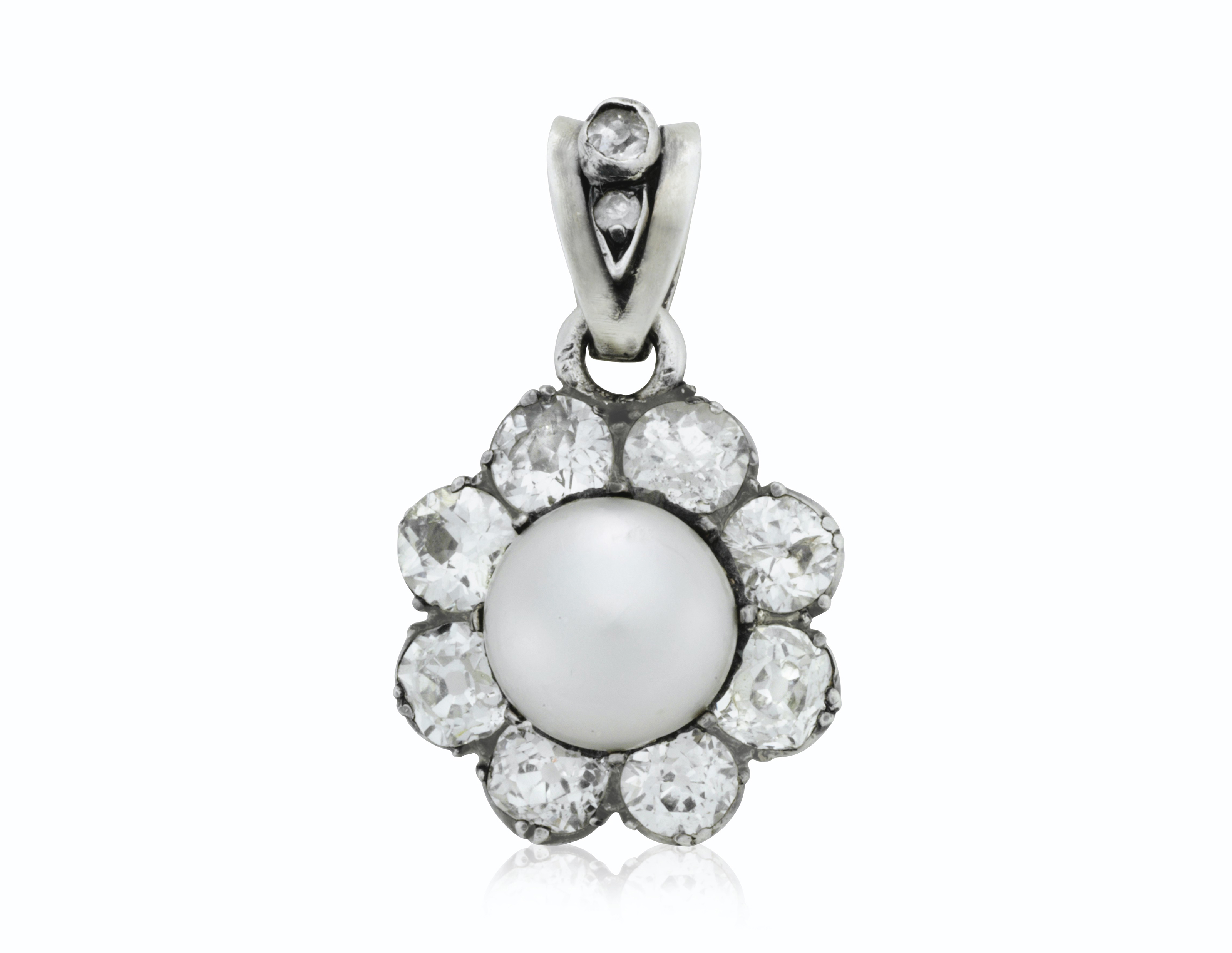 edwardian diamond natural necklace pearl pendant