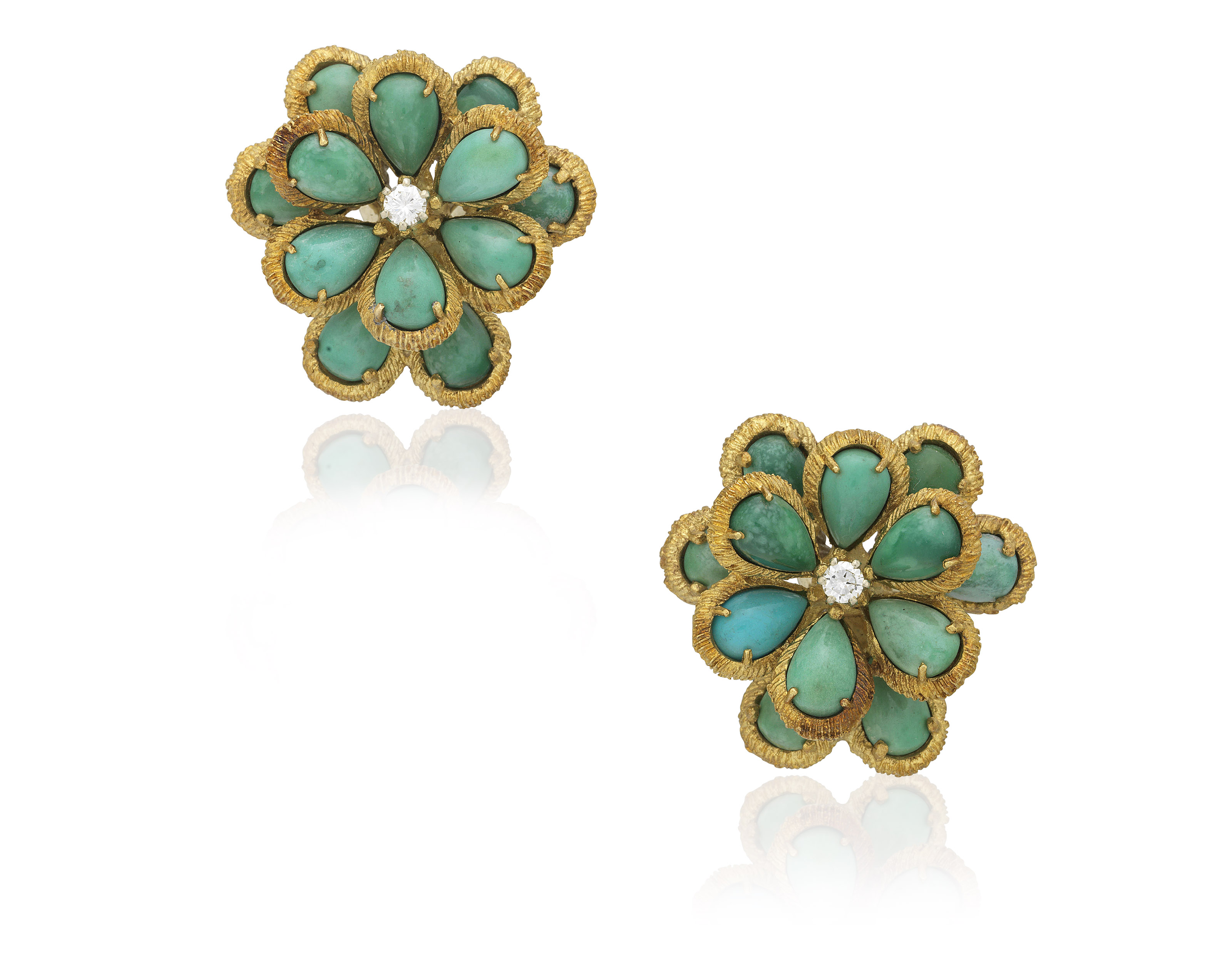 diamond image gold earrings halo turqouise in round drop turquoise white and