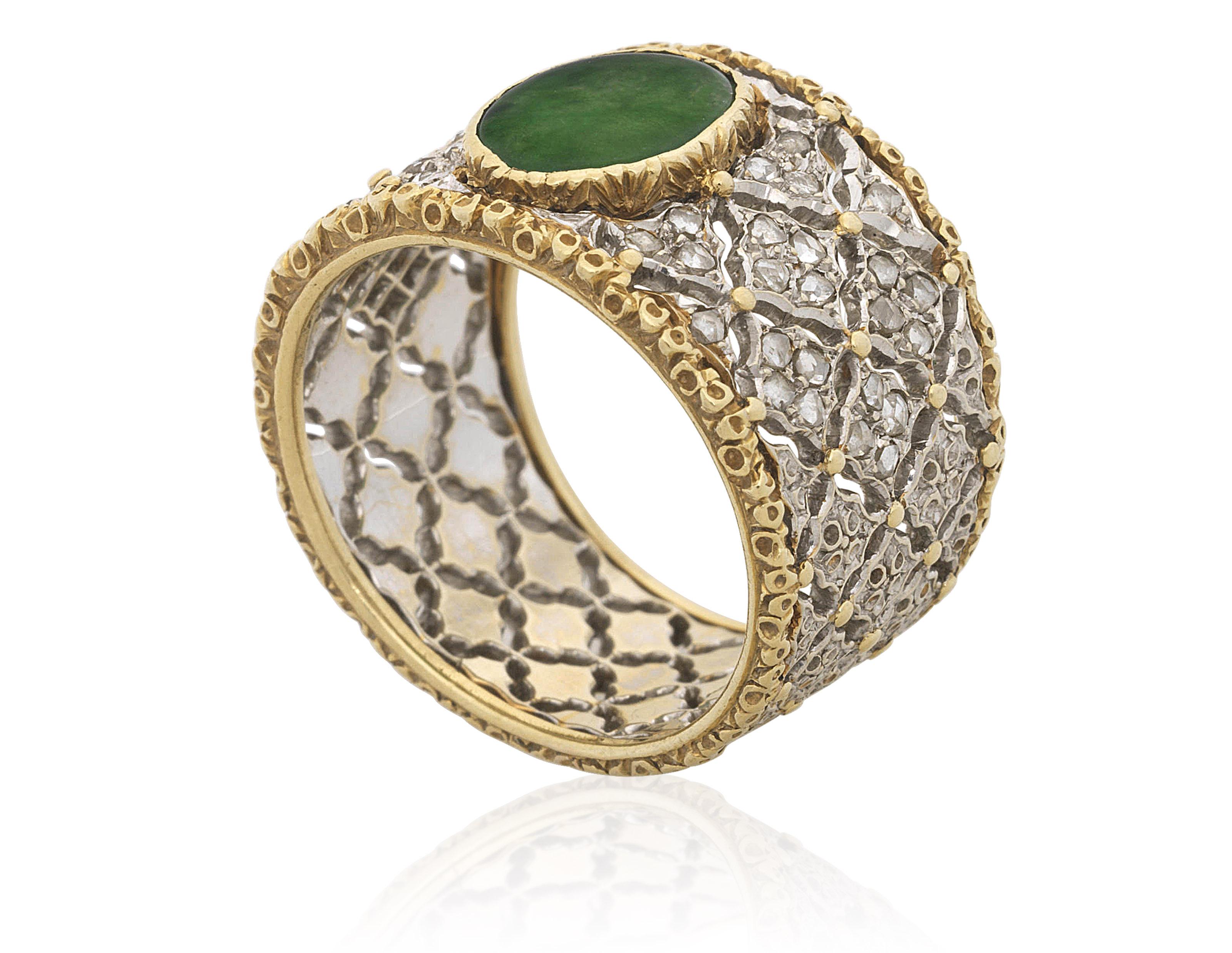 buccellati jade and diamond ring christie s. Black Bedroom Furniture Sets. Home Design Ideas