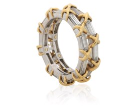 gold infinity baguette ring product half diamond band image white eternity bands