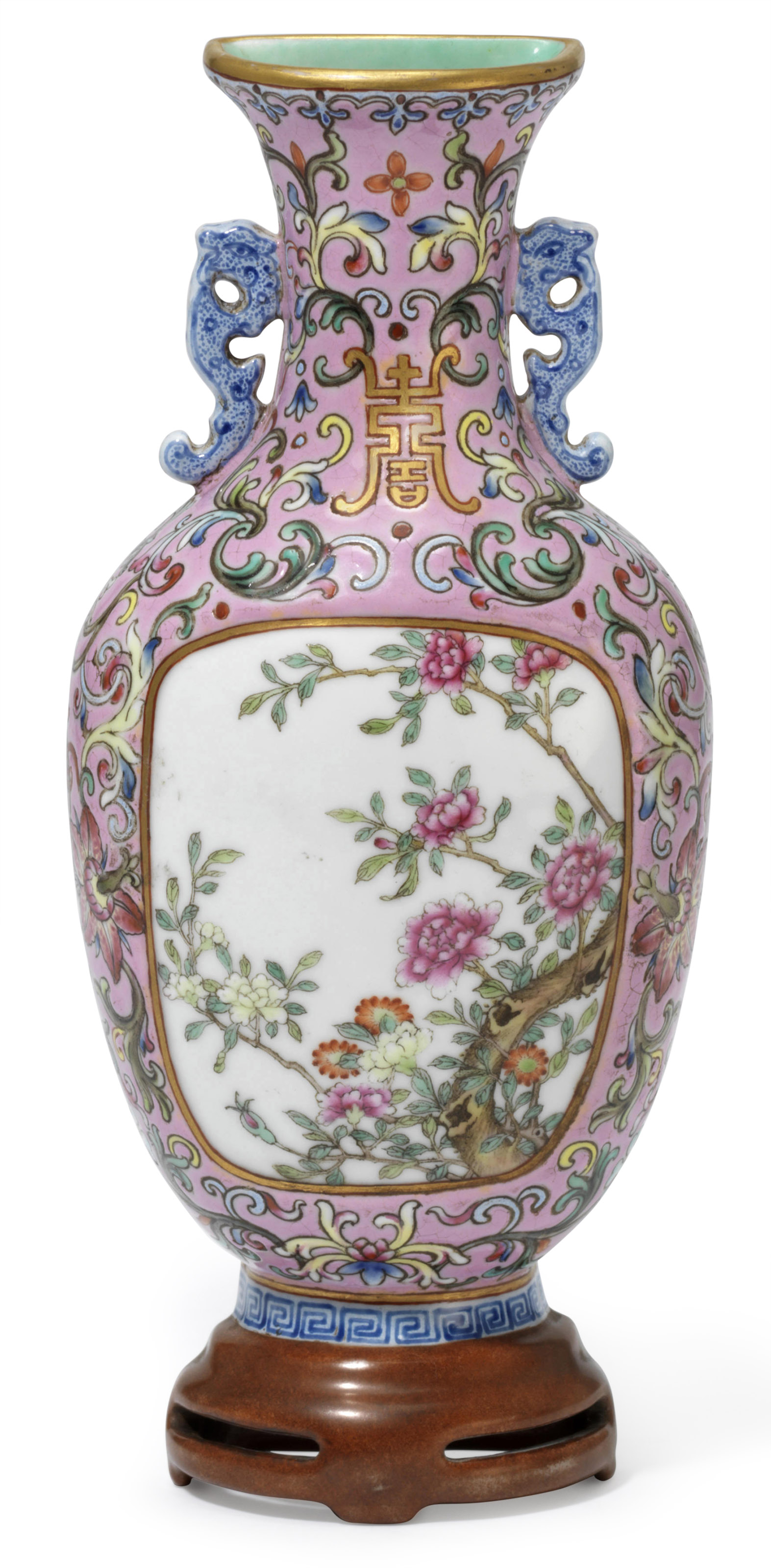A pink ground famille rose flower wall vase republic period a pink ground famille rose flower wall vase reviewsmspy