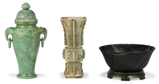 A Group Of Three Jade And Jadeite Vessels Ming Dynasty And Later