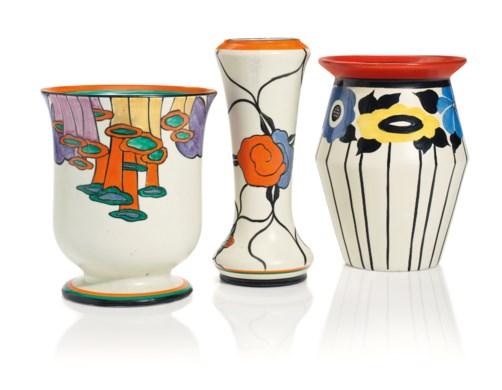 Three Clarice Cliff Vases Second Quarter 20th Century Various