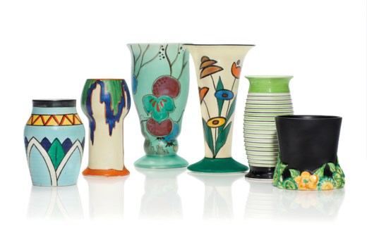 A Group Of Six Clarice Cliff Vases 20th Century Various Black