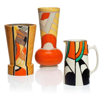 Two Clarice Cliff Vases And A Jug Second Quarter 20th Century