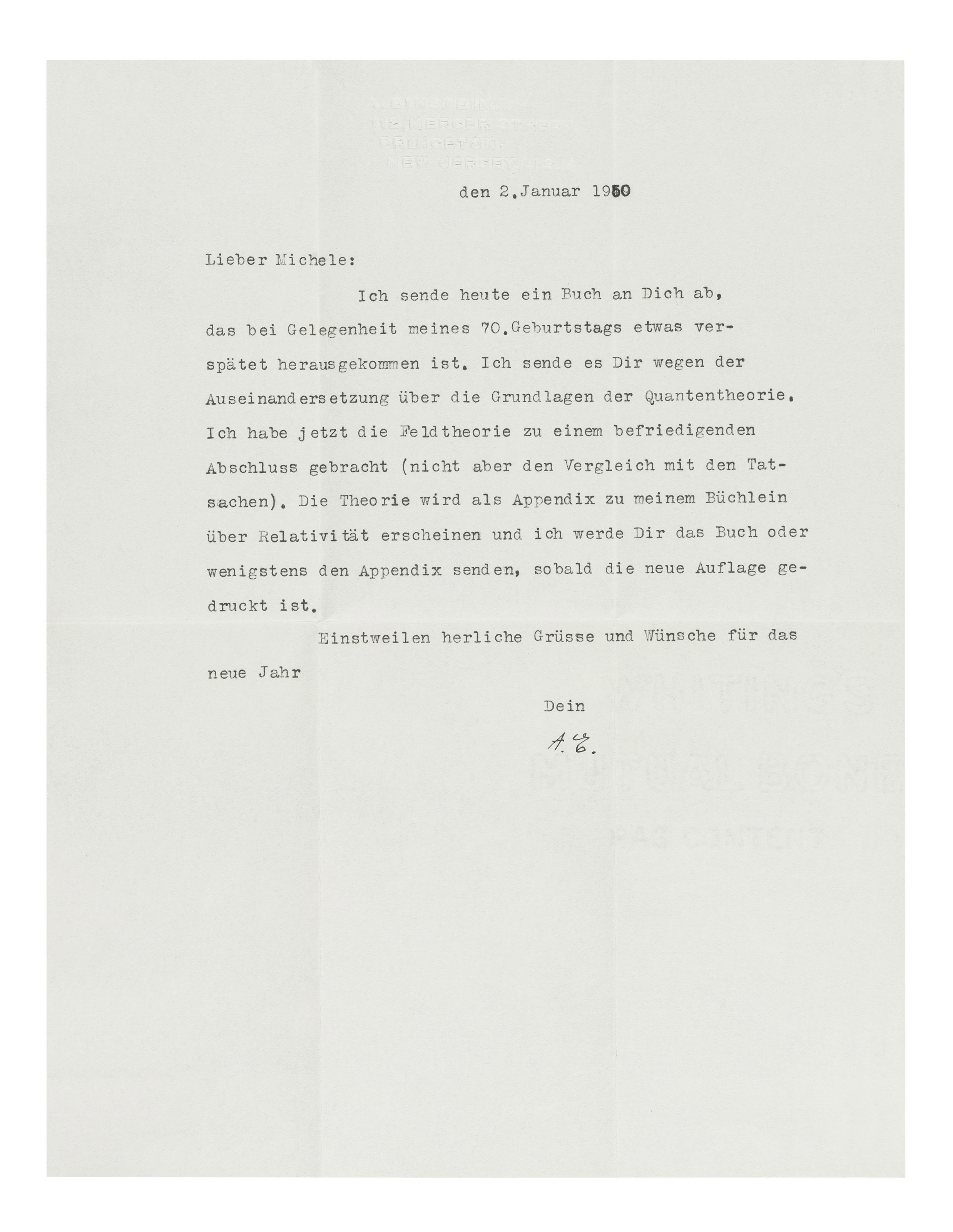 EinsteinS Letters To Michele Besso  ChristieS