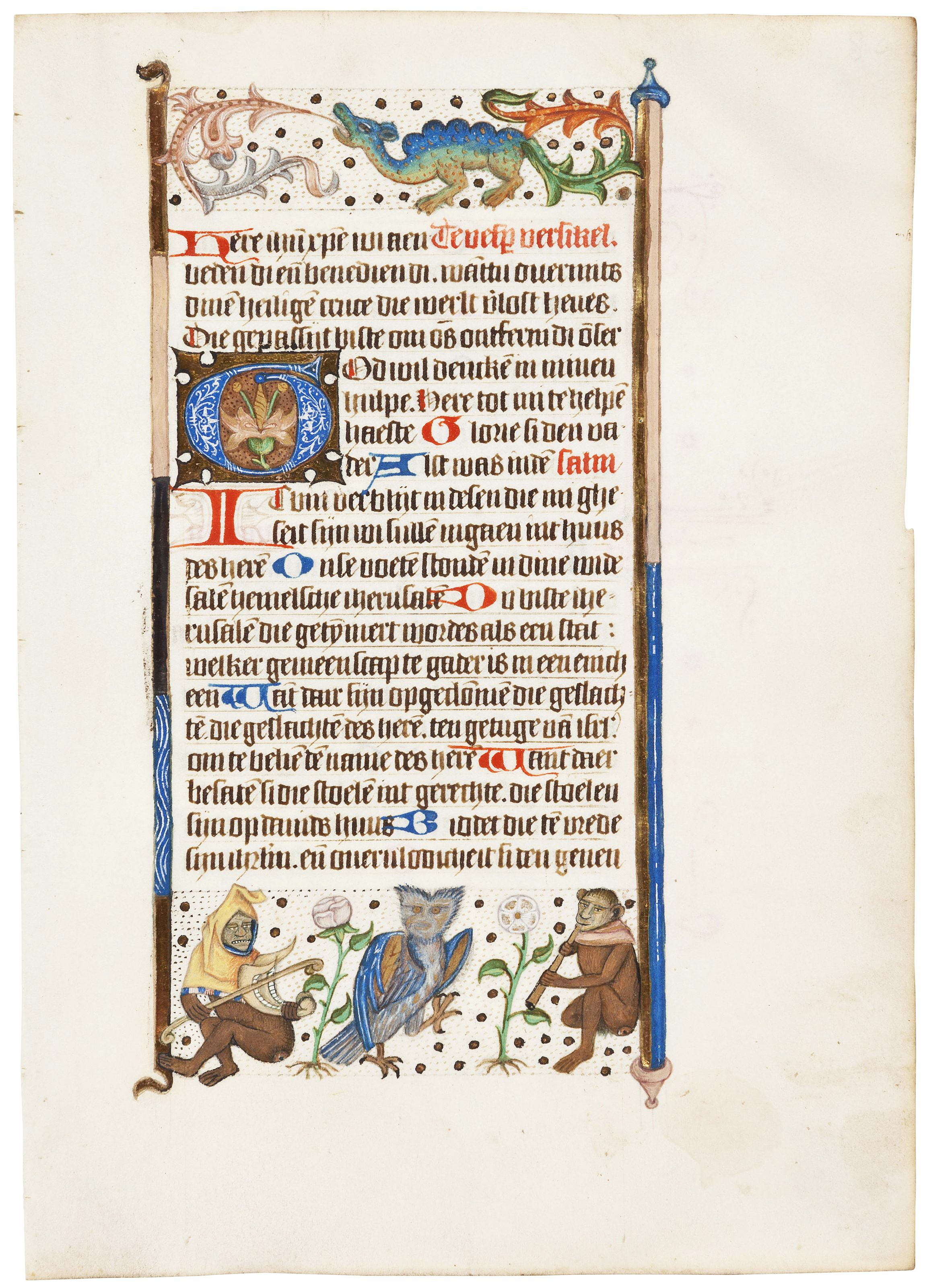 A leaf from the Hungerford Hours and a leaf from a Dutch Book of Hours illuminated by the Monkey Master