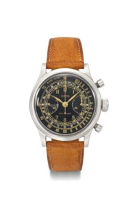 """Tavannes. A fine and rare stainless steel """"waterproof"""" chronograph wristwatch with black multi-scale dial"""