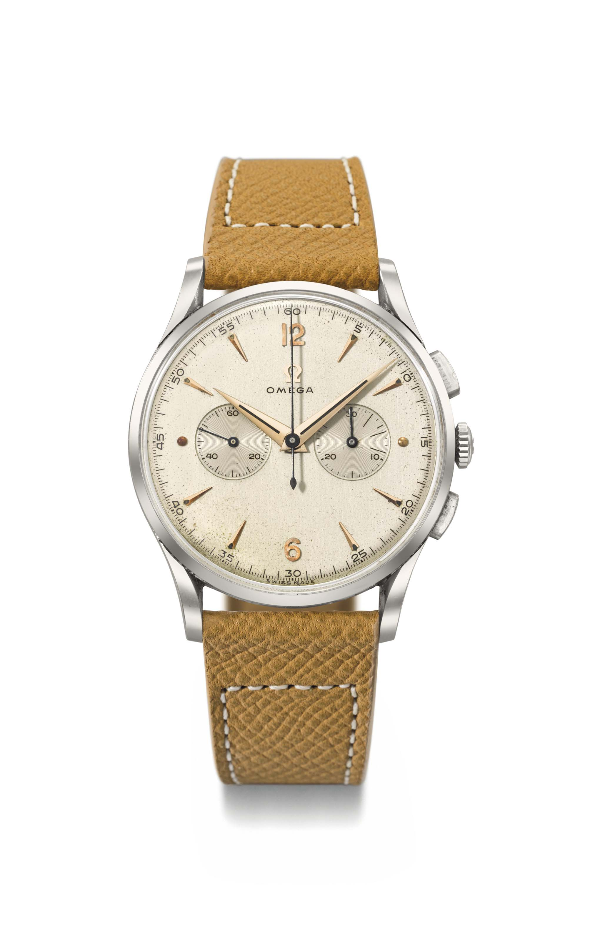 Omega. A fine and large stainless steel chronograph wristwatch