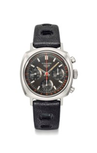 Heuer. A rare and fine stainless steel cushion-shaped chronograph wristwatch with tachymeter scale