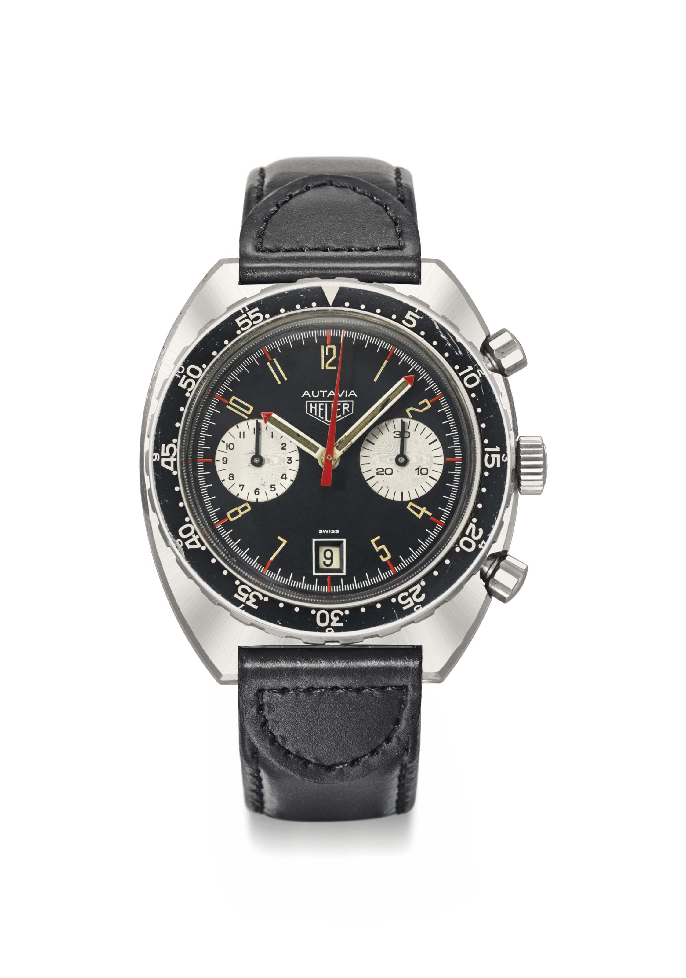 Heuer. A very rare and fine stainless steel tonneau-shaped chronograph wristwatch with date made for the Kenyan Air Force