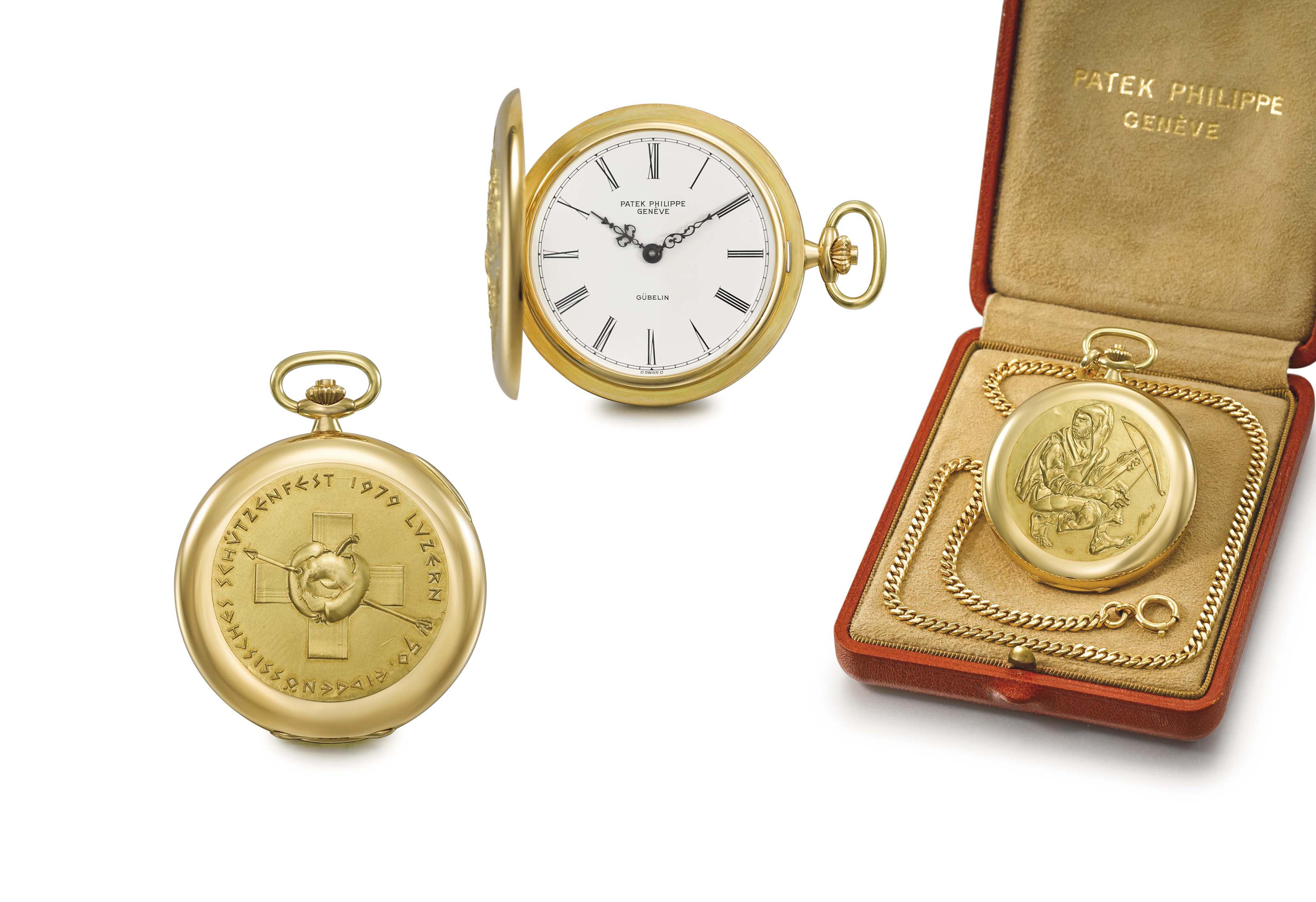 Patek Philippe. A very fine and rare 18K gold limited edition hunter case keyless lever watch with gold relief by Hans Erni, chain and original box, made for the 50th target shooting contest in Lucerne in 1979