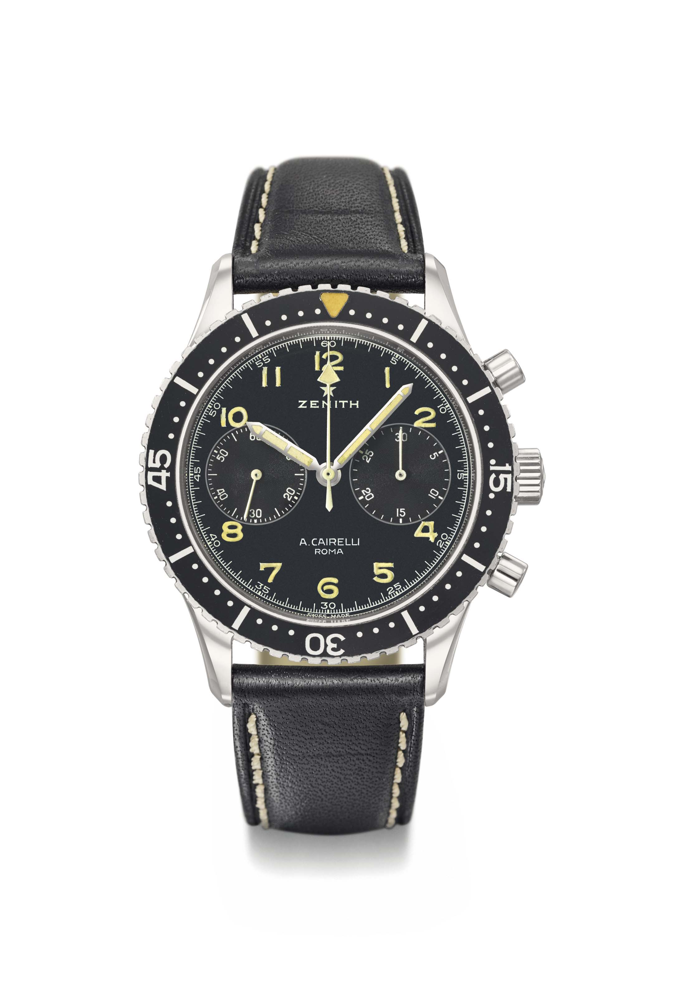 Zenith. A very fine, rare and attractive military chronograph wristwatch with black luminous dial and engraved case back. Made for the Italian Army