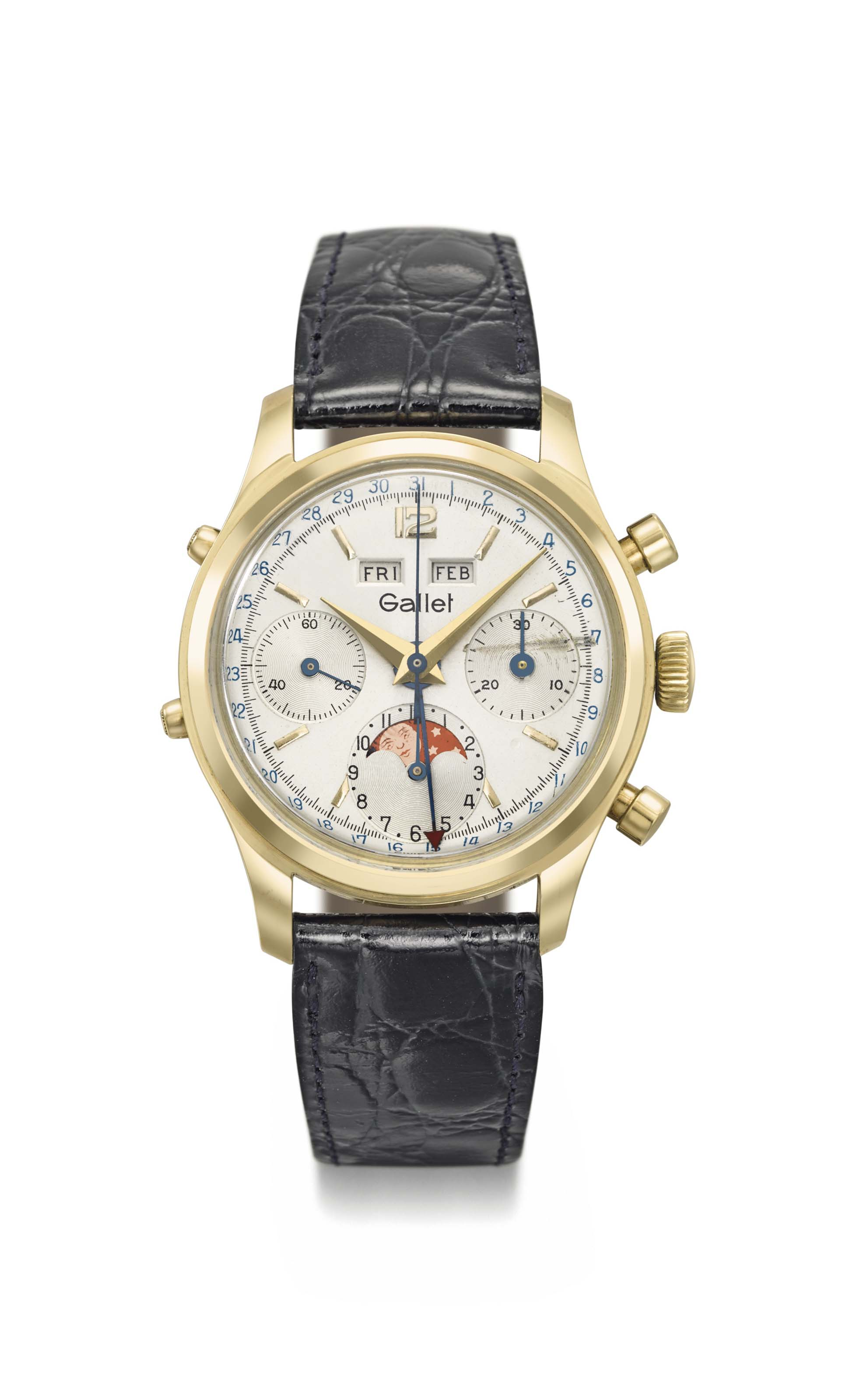 Gallet. A fine and rare 14K gold chronograph wristwatch with triple date calendar and moon phases