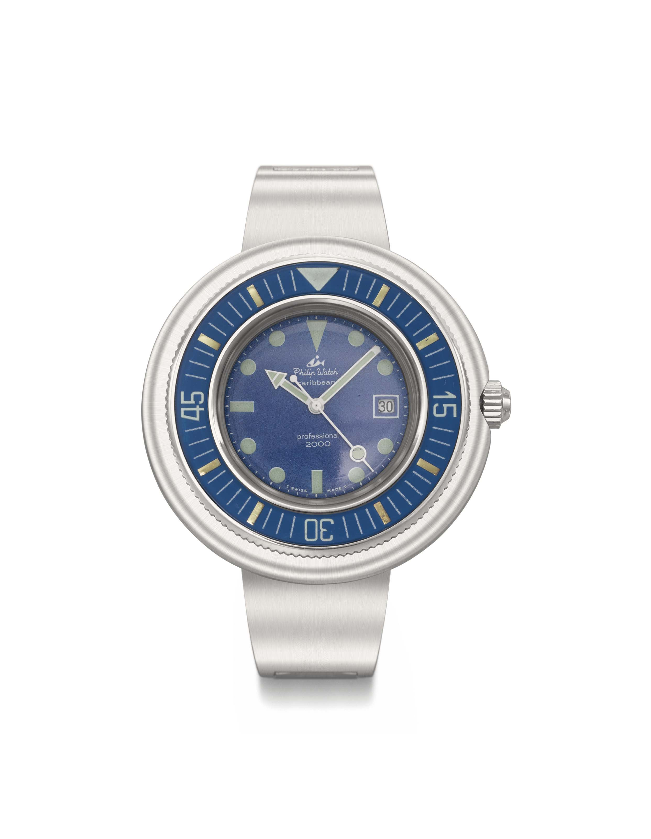 Philip Watch. A fine and oversized automatic diver's wristwatch with sweep centre seconds and date