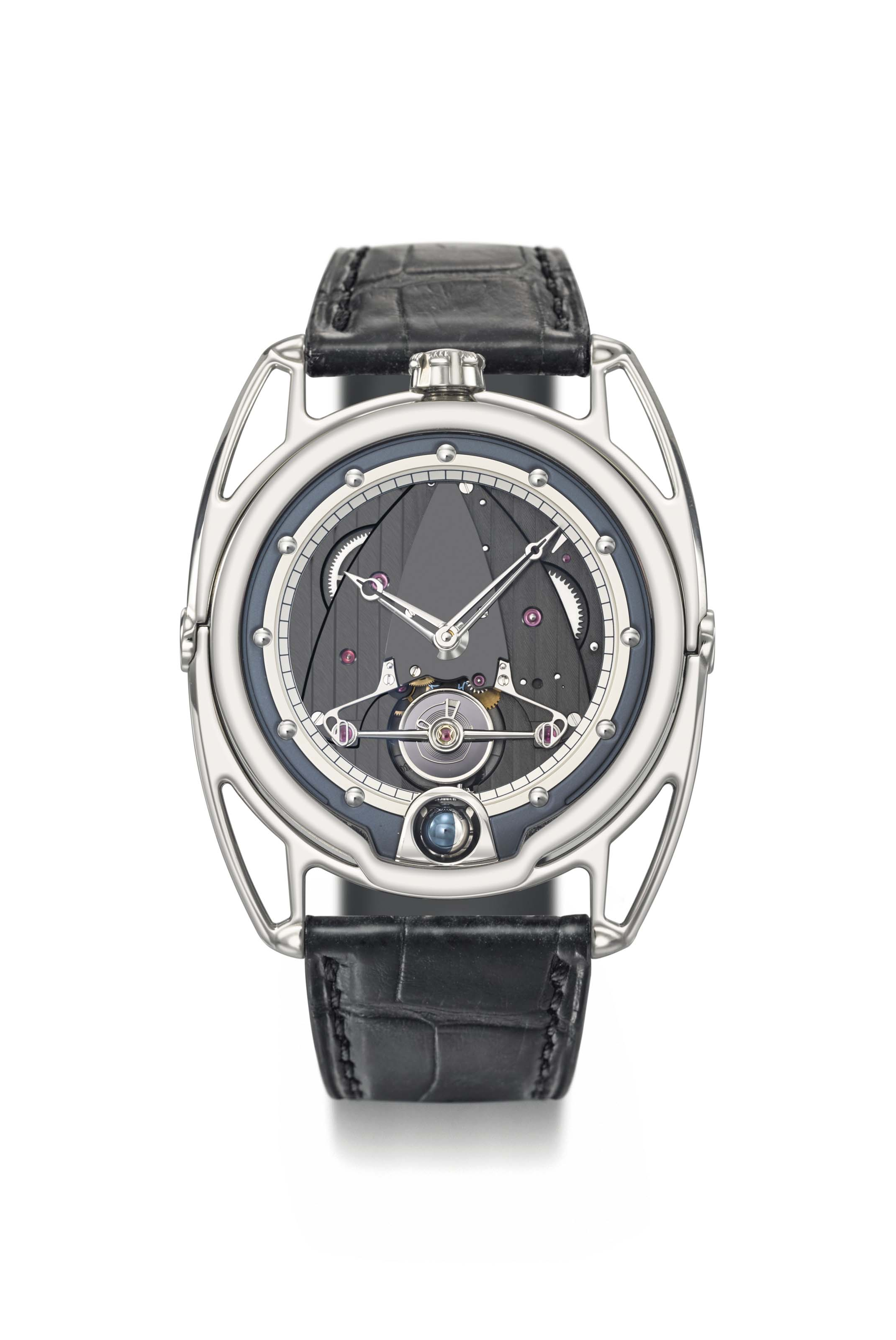 De Bethune. A fine, rare and innovative titanium semi-skeletonised wristwatch with spherical moon phase, power reserve and floating lugs