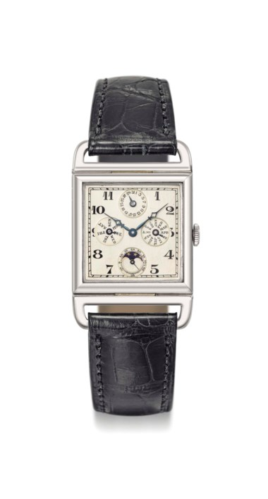 Audemars Piguet. An extremely fine, attractive and possibly unique 18K white gold square full calendar wristwatch with moon phases and movable lugs, signed Audemars Piguet & Co., retailed by Bittmann, St. Moritz, No. 34568, manufactured in 1926. Dimensions 25.5  mm wide, 40  mm overall length. Sold for CHF 171,250 on 15 May 2017 at Christie's in Geneva