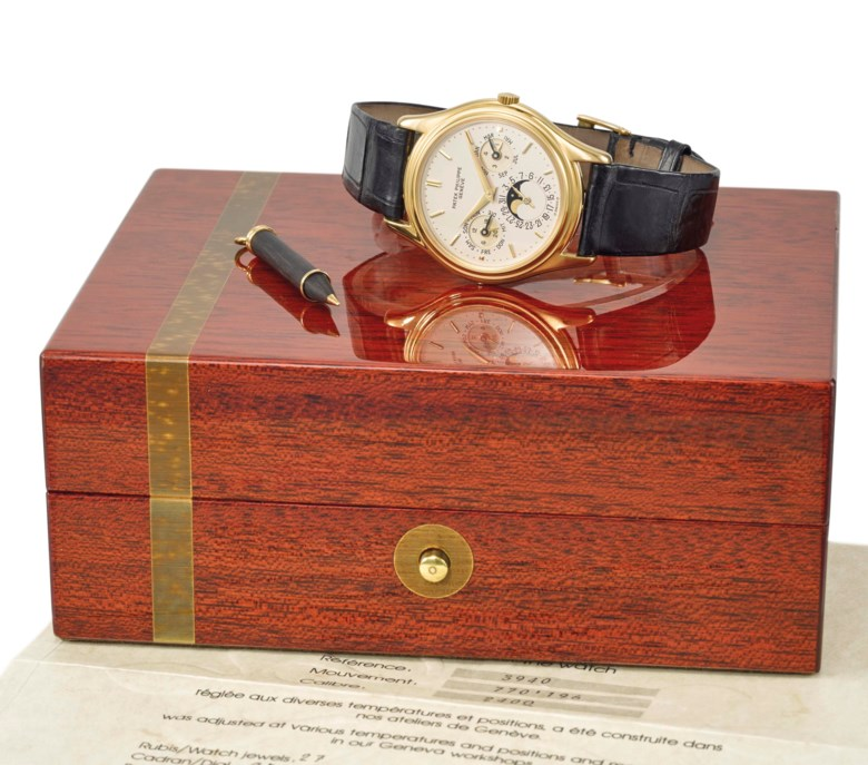 Patek Philippe. A fine 18K gold automatic perpetual calendar wristwatch with moon phases, original certificate and box. Signed Patek Philippe, Genève, ref. 3940 1st series, movement no. 770'196, case no. 2'824'996, manufactured in 1986. Dimensions 36 mm diameter. Sold for CHF 32,500 on 15 May 2017 at Christie's in Geneva