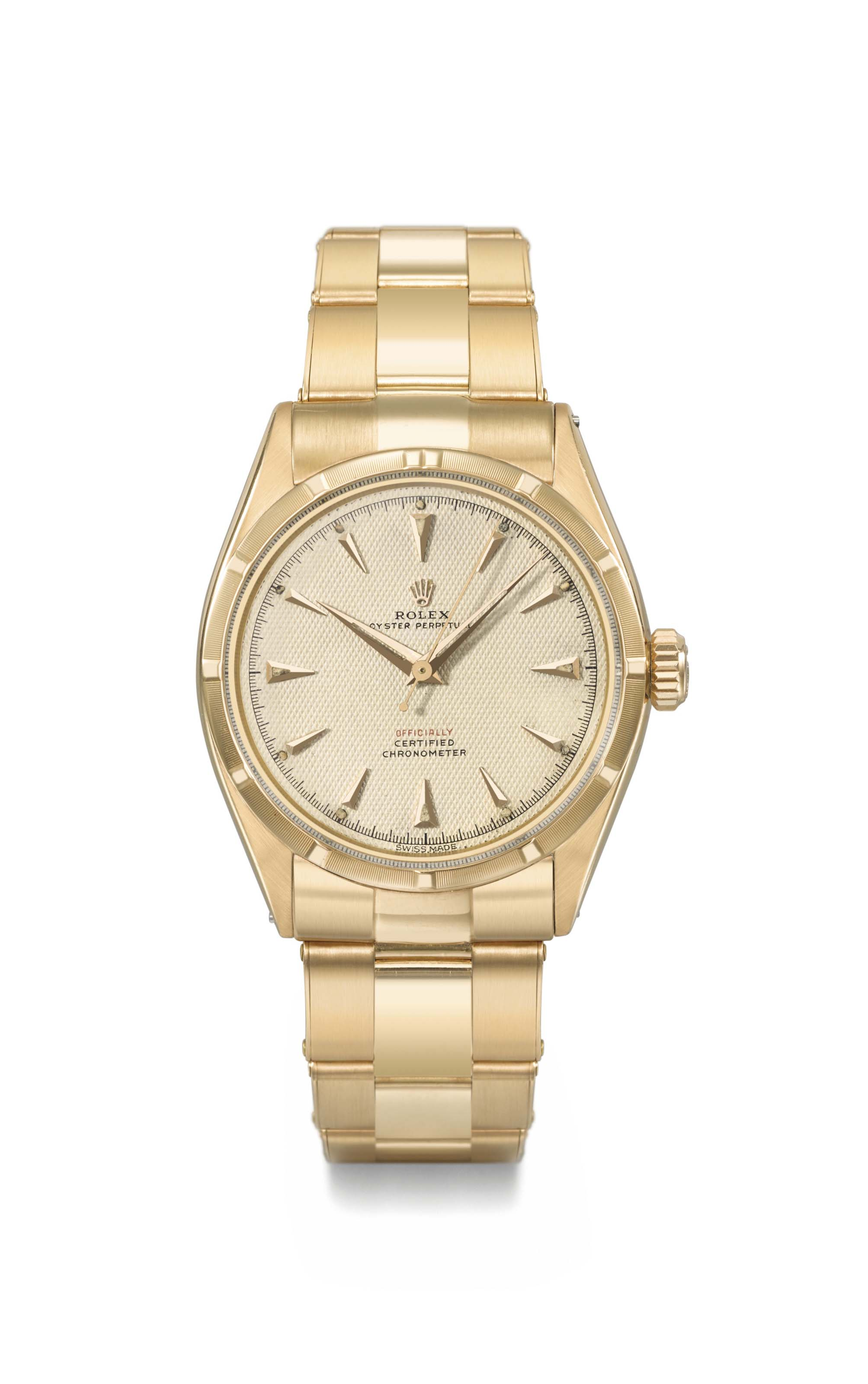 Rolex. A fine, very rare and highly attractive 18K pink gold automatic wristwatch with sweep centre seconds, honeycomb luminous dial and bracelet