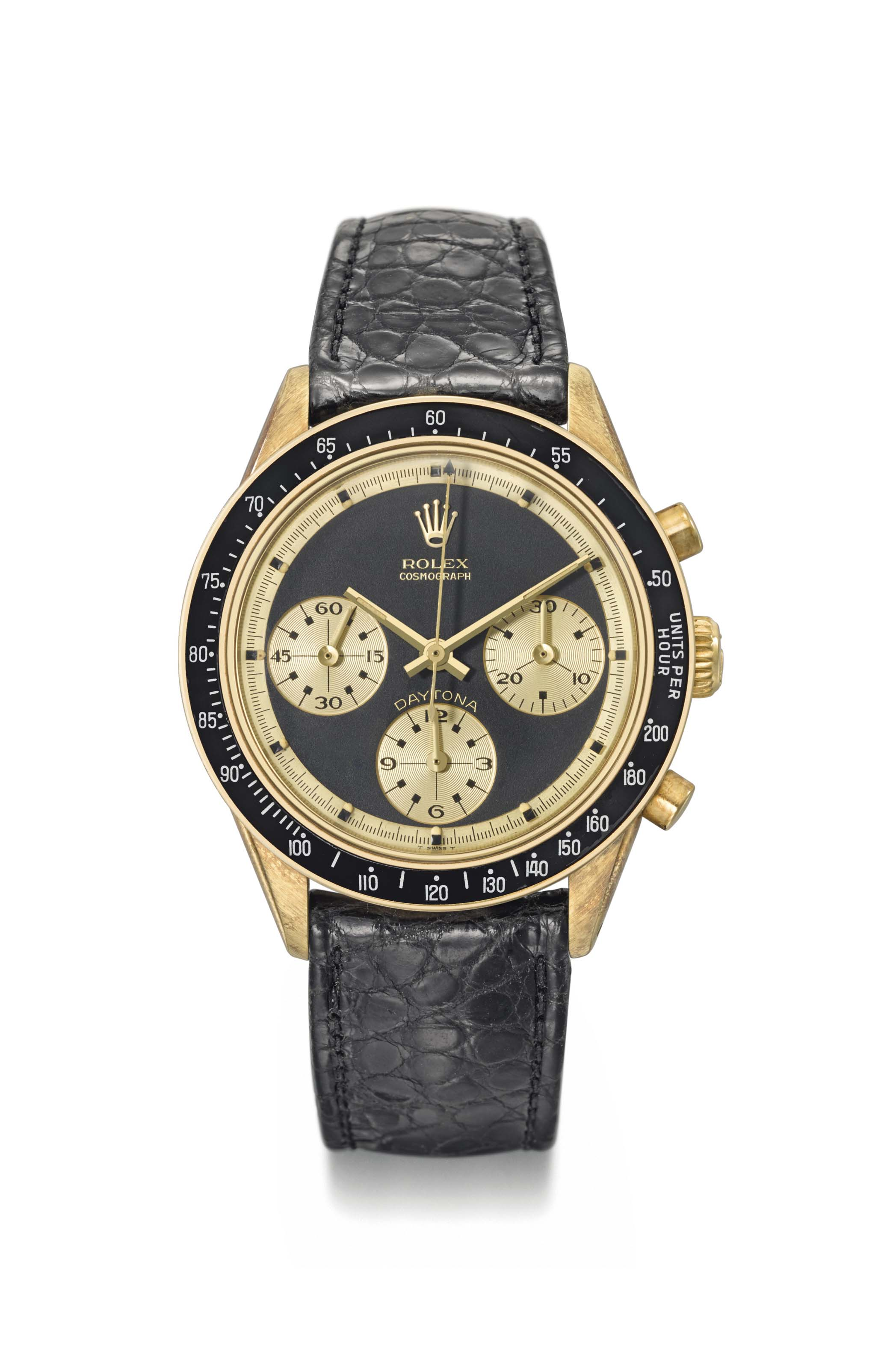 "Rolex. A fine, extremely rare and attractive 14K gold chronograph wristwatch with black ""John Player Special Paul Newman"" dial"