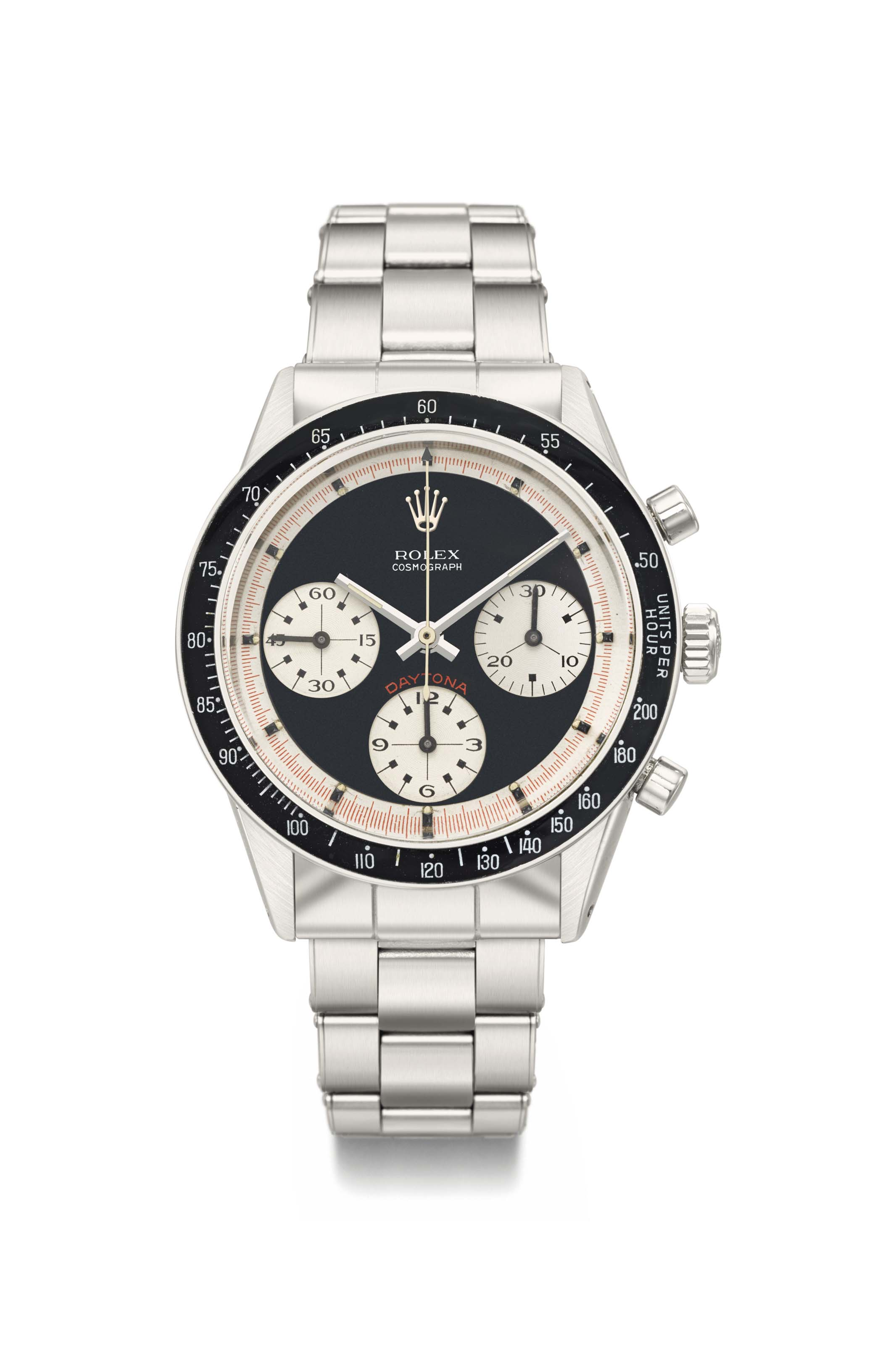 Rolex. An extremely fine and very rare stainless steel chronograph wristwatch with Paul Newman dial and bracelet