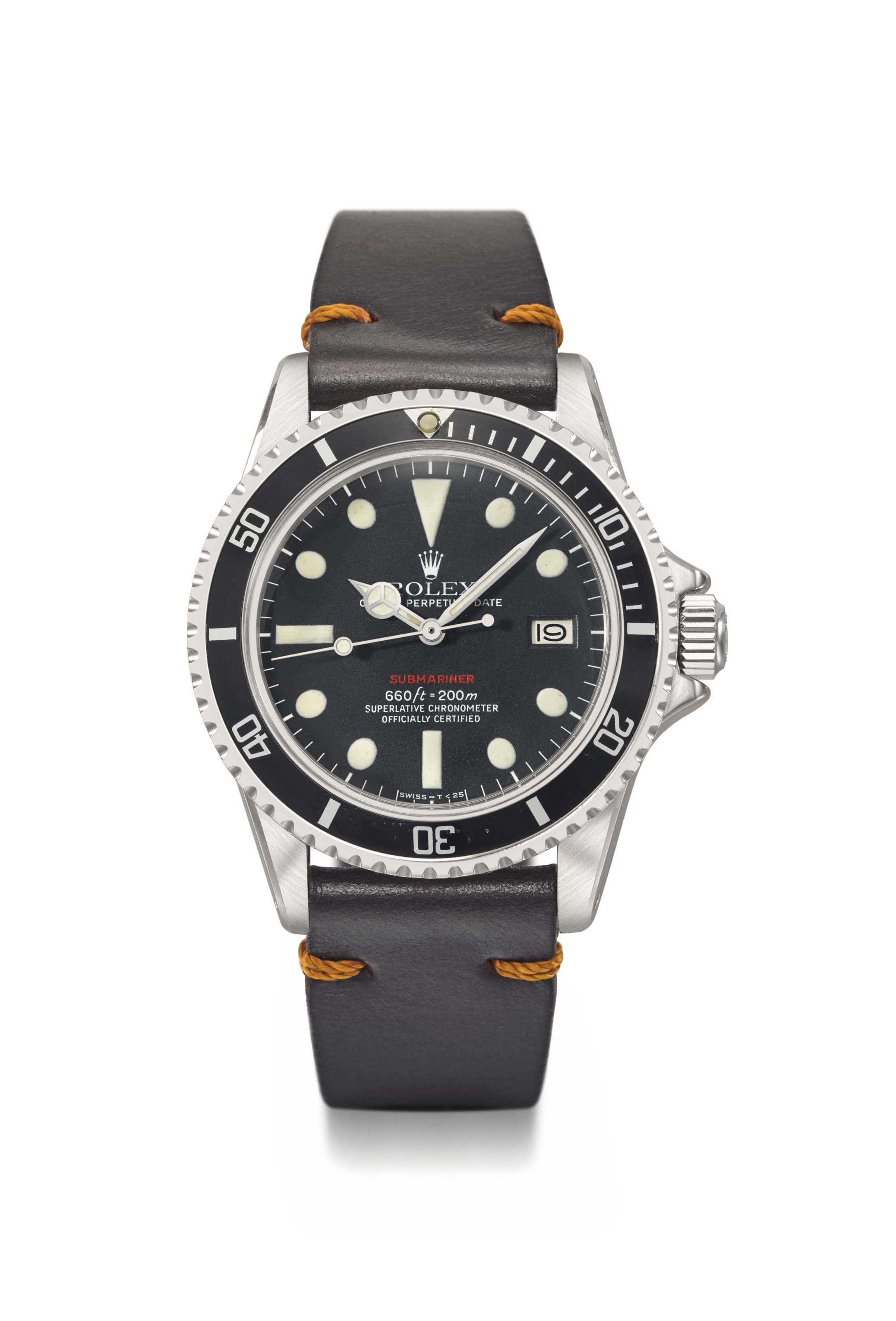 Rolex. A fine and unusual stainless steel automatic wristwatch with sweep centre seconds and date