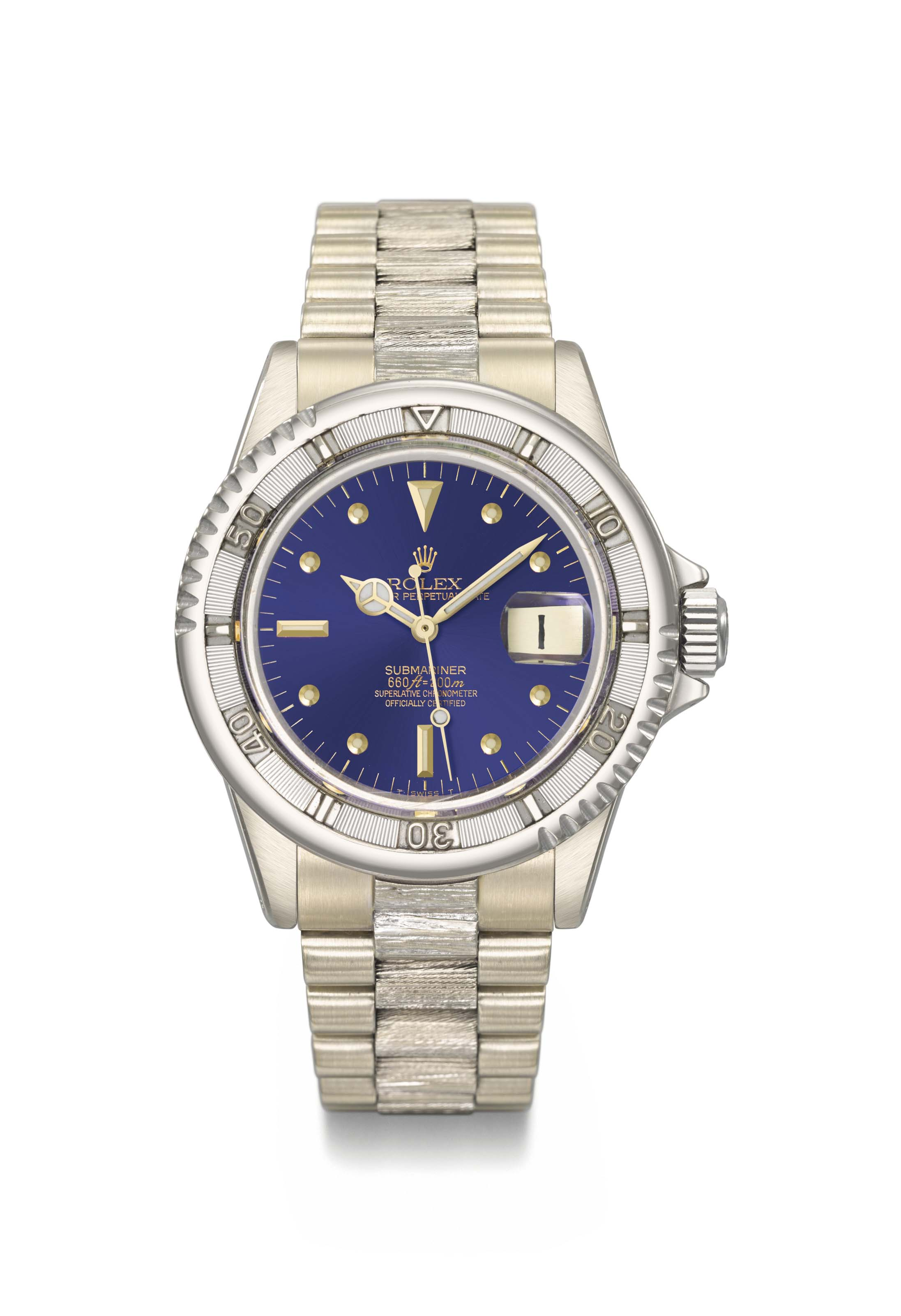 Rolex. A fine and very important 18K white gold automatic wristwatch with sweep centre seconds, nipple dial, date and 18K white gold bracelet