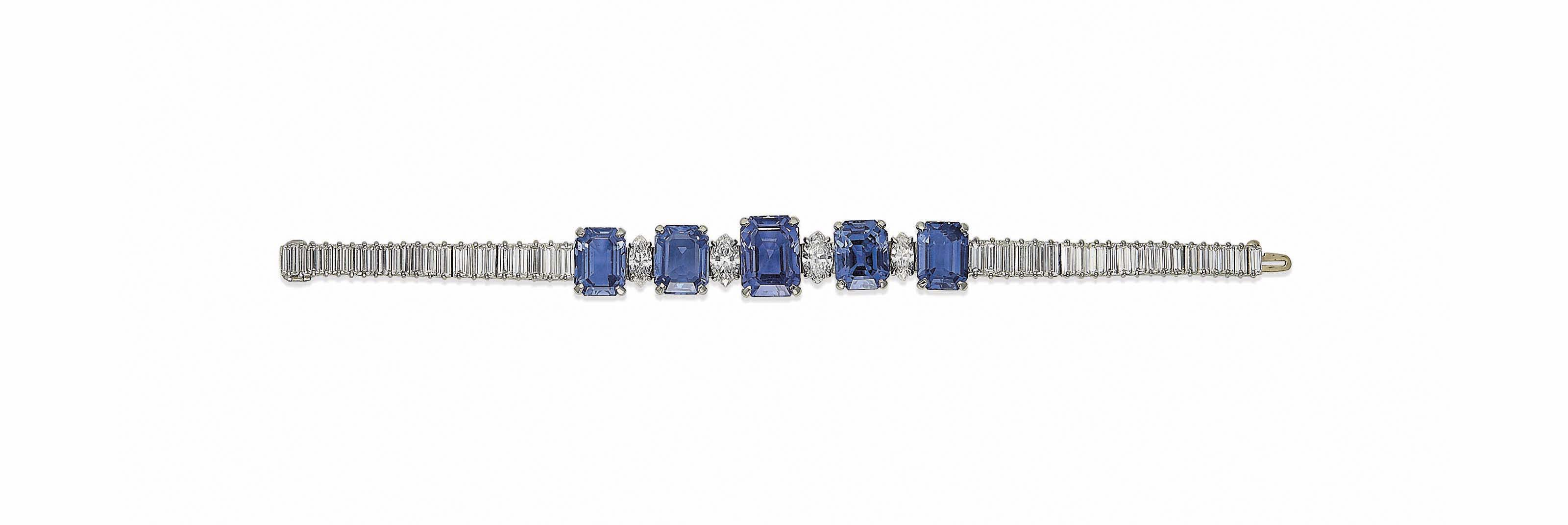 A SAPPHIRE AND DIAMOND BRACELET, BY CUSI