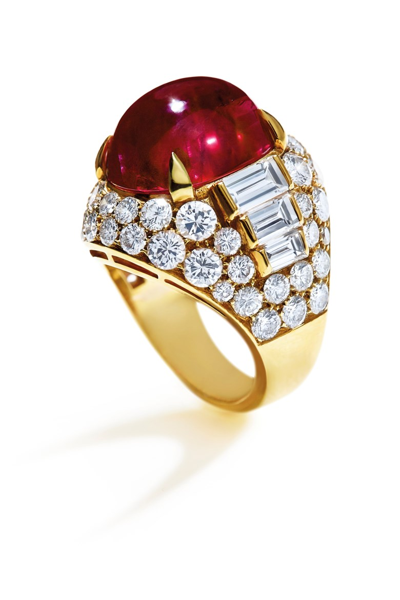 An important ruby and diamond 'Trombino' ring, by Bulgari. Sold for CHF 823,500 on 17 May 2017 at Christie's in Geneva