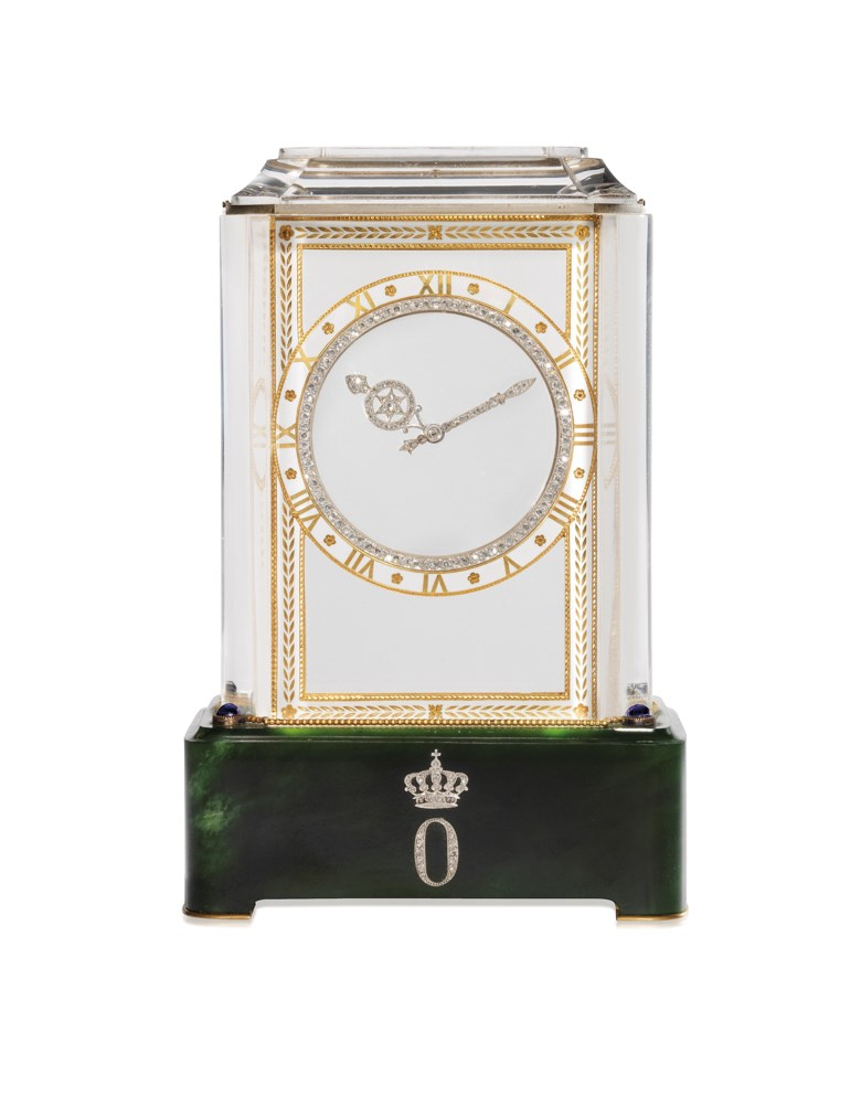 An exquisite Art Deco rock crystal, diamond and nephrite jade Model A mystery clock, Cartier, circa 1915. Sold for CHF 787,500 on 17 May 2017 at Christie's in Geneva