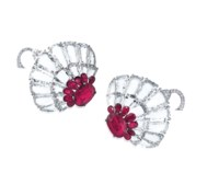 A PAIR OF RUBY AND DIAMOND EARRINGS, BY BHAGAT