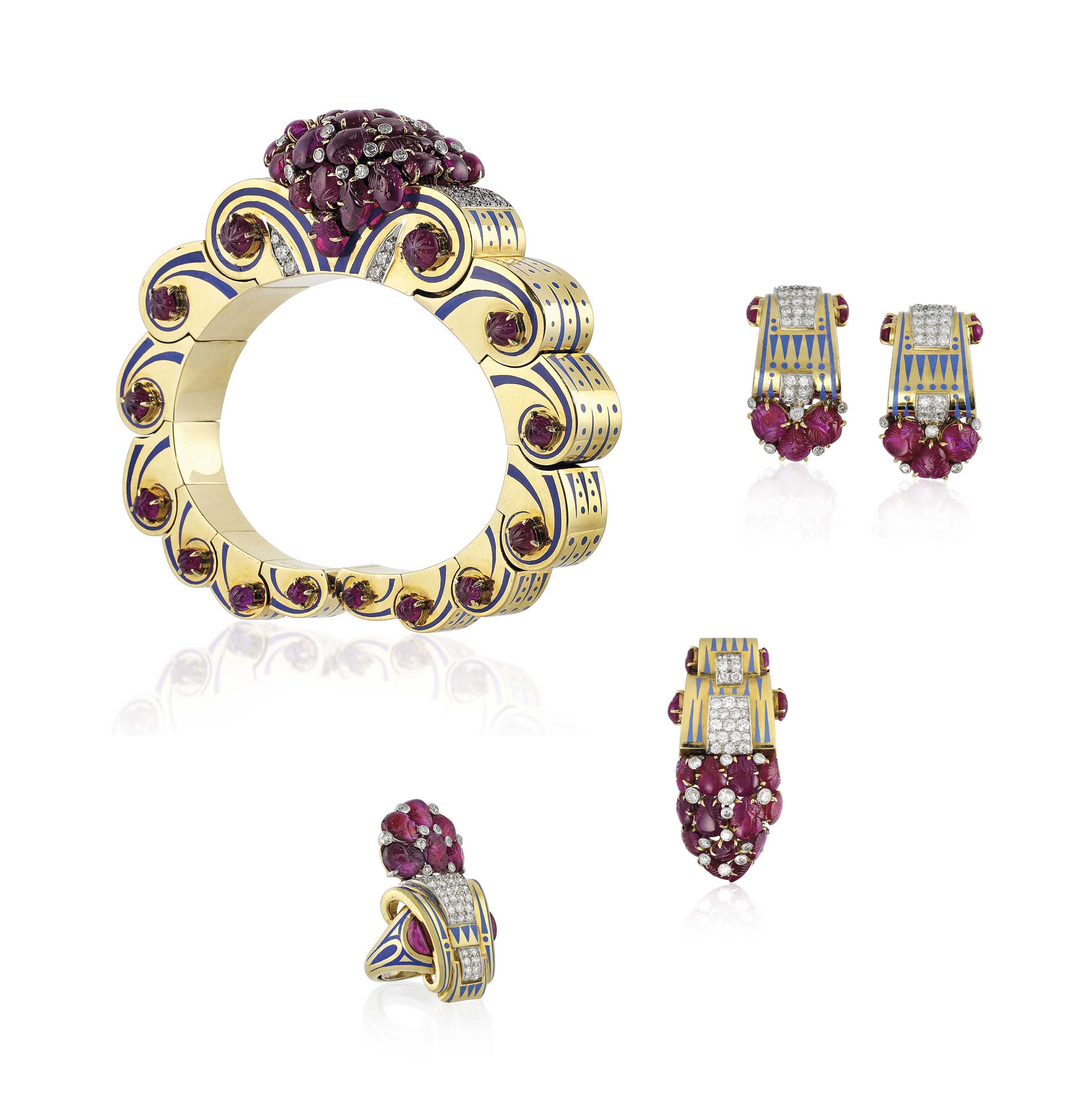 A RETRO RUBY, DIAMOND AND ENAMEL BANGLE AND BROOCH SET, BY BLACK, STARR & FROST, AND A RING AND A PAIR OF EARRINGS