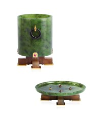 AN ART DÉCO NEPHRITE JADE, RUBY AND ENAMEL BRUSH POT AND STAND, BY BROCK & CO.