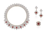 A RUBY AND DIAMOND NECKLACE, RING AND EARRING SUITE, BY MARIO BUCCELLATI