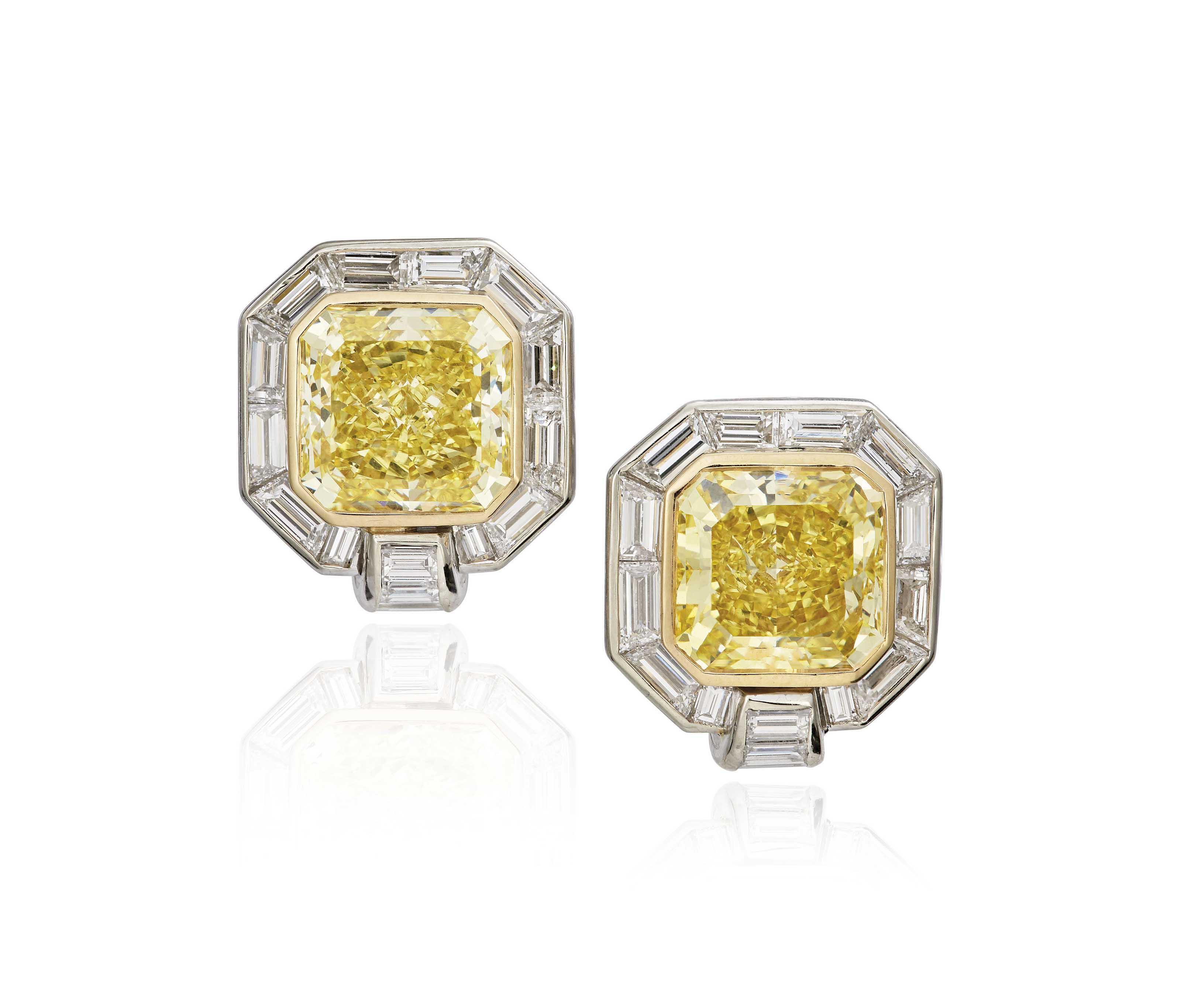 A PAIR OF DIAMOND AND COLOURED DIAMOND EARRINGS, BY ADLER