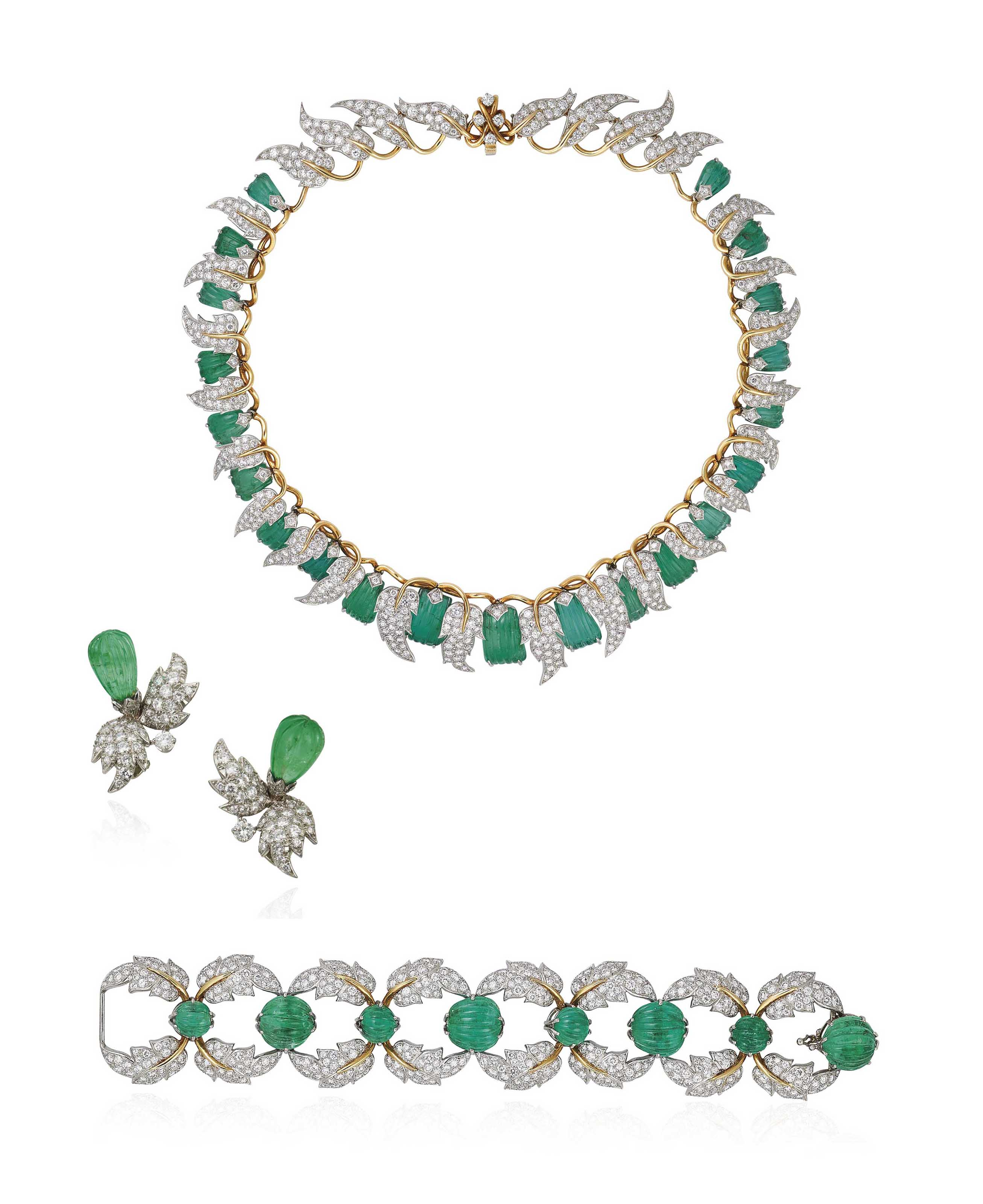 AN EMERALD AND DIAMOND NECKLACE, BRACELET AND EARRING SUITE, BY SCHLUMBERGER FOR TIFFANY & CO.